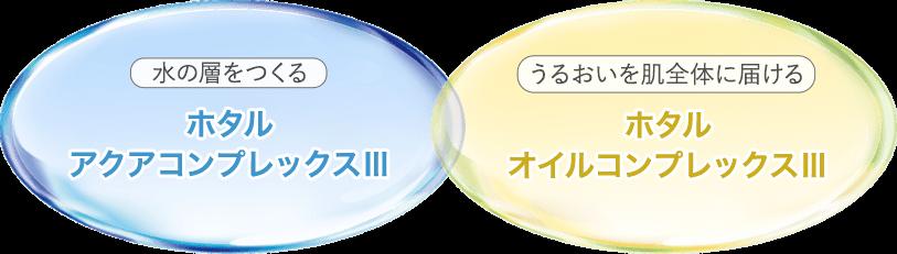 水の層を作る ホタルアクアコンプレックスⅢうるおいを肌全体に届ける ホタルオイルコンプレックスⅢ